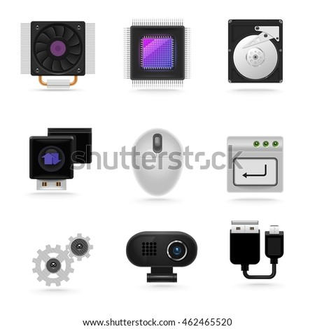 pc parts vector icon set