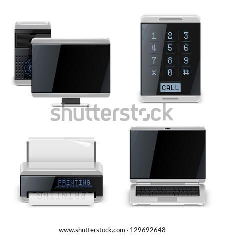 pc printer phone vector icons xxl - stock vector