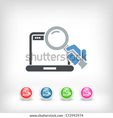 Pc search icon - stock vector
