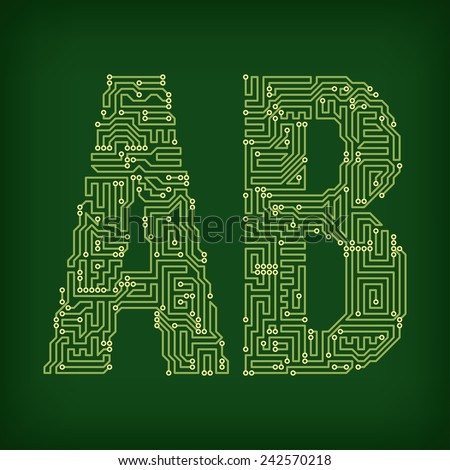PCB letter and digits. Vector illustration. - stock vector