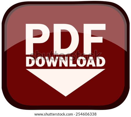PDF Document Download Glossy Button, Vector Illustration isolated on White Background.  - stock vector