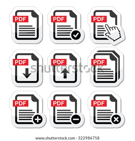 PDF download and upload icons set  - stock vector
