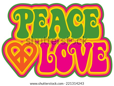 Peace and Love retro-style text design with a peace heart symbol.