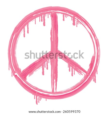Peace and love sign illustration, typography, t-shirt graphics, vectors, pink, girl  - stock vector