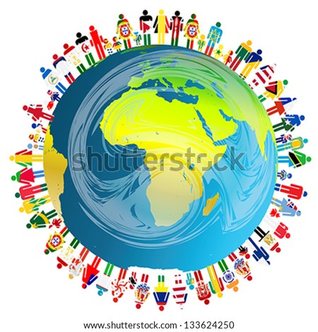 Peace concept with planet Earth and people - stock vector