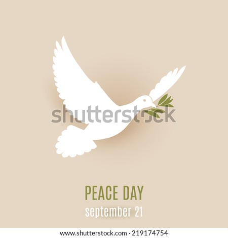 Peace day design with flying white dove with green branch in its beak - stock vector