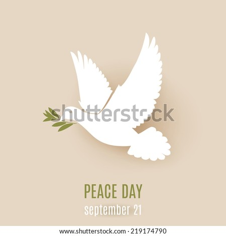 Peace day design with flying white dove with green twig in its beak - stock vector