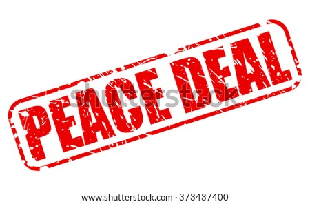 PEACE DEAL red stamp text on white - stock vector