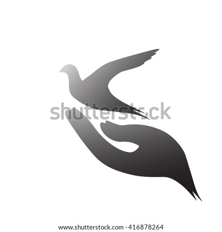 Peace dove icon. Bible Peace Abolition of Slavery Tree God Trust New Earth CSR Eco Friendly God Whit Monday World Press Freedom Day Whit Monday Open Give Church Trust Pentecost Amnesty concept. - stock vector