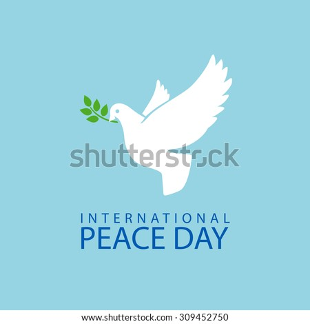 Peace dove with olive branch for International Peace Day poster - stock vector