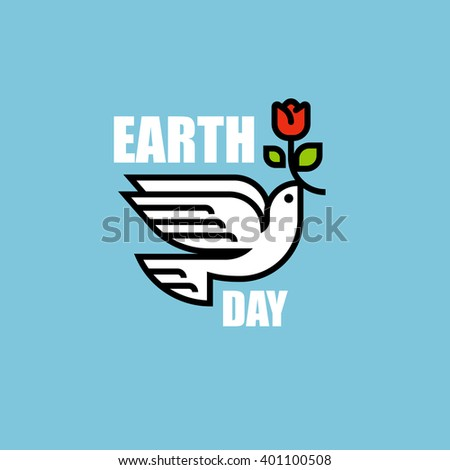 Peace dove with red flower. Earth day modern flat line vector cartoon - stock vector