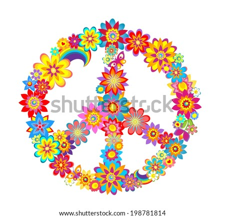 Peace flower symbol - stock vector