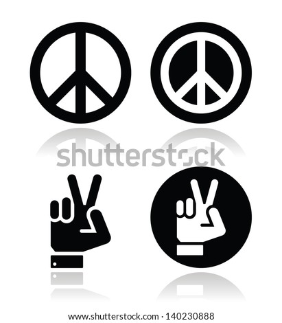 Peace, hand gesture vector icons set  - stock vector