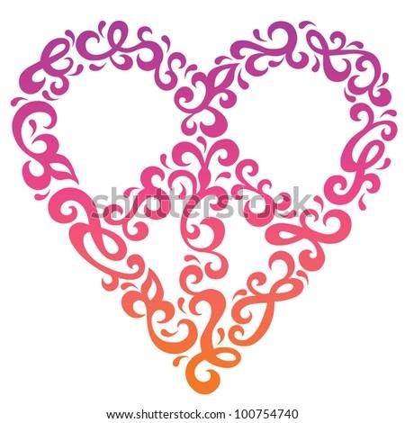 Peace Heart curlicue design in a retro 1960s-1970s style. - stock vector