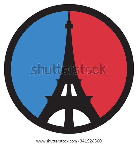 Peace in Paris peace symbol of the Eiffel Tower in the colors of the French flag. - stock vector