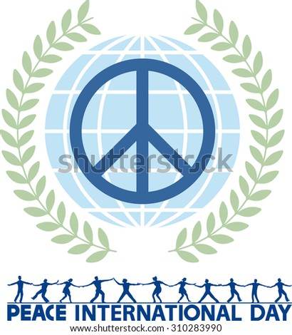 Peace international day. Abstract image made up of graphical elements and text devoted significant date.