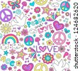 Peace, Love, and Doves Seamless Pattern Groovy Notebook Doodle Design- Hand-Drawn Illustration Background - stock vector