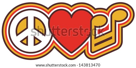 PEACE LOVE MUSIC retro-style design of a peace symbol, heart and barred note in red and gold. - stock vector