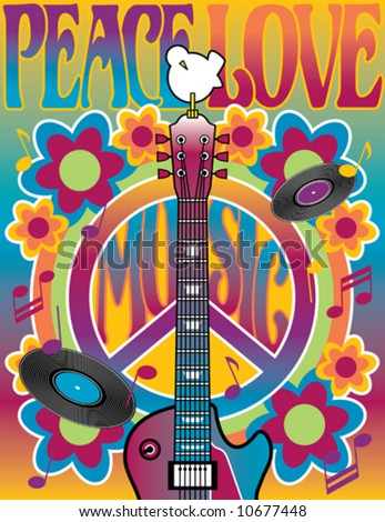 Peace Love Music vector illustration of a guitar, peace symbol and dove. A tribute to the Woodstock Music and Art Fair of 1969. Elements are on separate layers for easy editing. jpeg also available. - stock vector