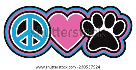 Peace-Love-Pets Icon design of a peace symbol, heart and paw print in a retro outlined style. - stock vector