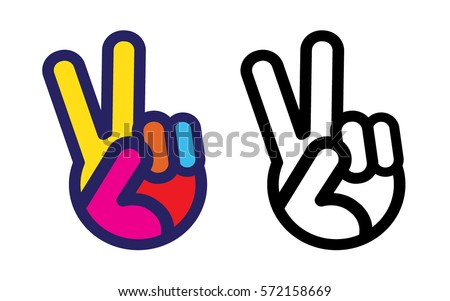 peace sign hand icon stock vector hd royalty free 572158669 rh shutterstock com peace sign vector eps free peace sign vector image