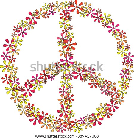 Peace sign made from 60-70s style flowers - stock vector