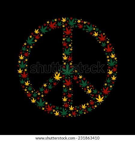 Peace sign made of marijuana leafs in rasta colors - stock vector