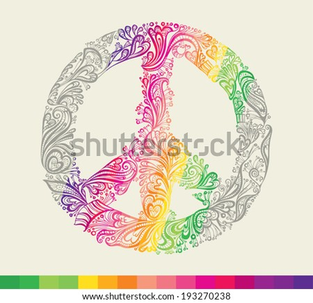 Peace sign. Rainbow peace symbol card. - stock vector