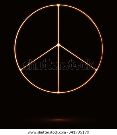 Peace sign shining in the dark, vector illustration - stock vector