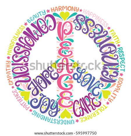 Peace Sign Vector Illustration Hand Drawn Stock Vector 595997750