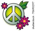 Peace sign with pink flowers isolated on white background - vector - stock vector
