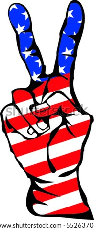 Peace sign with USA flag - stock vector