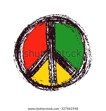 Peace symbol drawing. Hand drawn. Vector illustration - stock vector