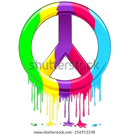 Peace Symbol Dripping Rainbow Paint - stock vector