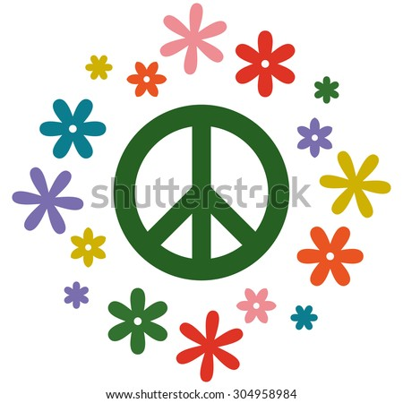 Peace symbol flower power vector illustration isolated - stock vector