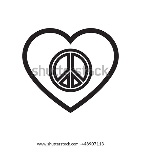 how to draw a peace sign heart