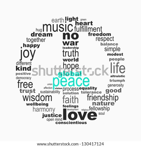 Peace symbol made with words - stock vector