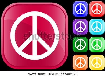 Peace symbol on shiny square buttons