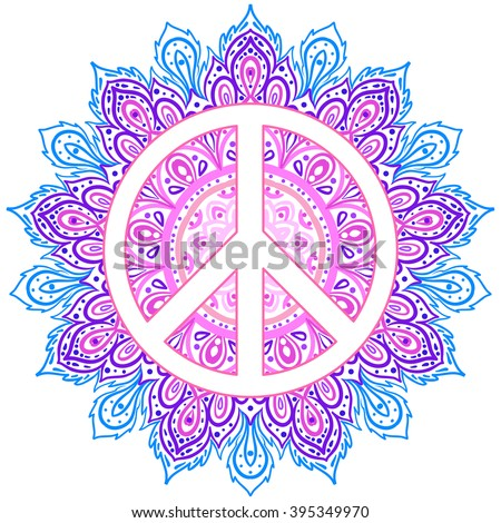Peace symbol over decorative ornate background mandala round pattern. Boho, hippie style.  Freedom, spirituality, occultism, textiles art. Vector illustration for t-shirt print isolated on background.