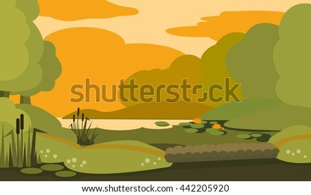 Peaceful evening swamp with gangway. Vector illustration.