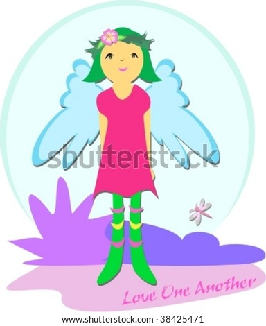 Peaceful Fairy says Love One Another Vector