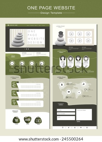 peaceful one page website design template in green  - stock vector