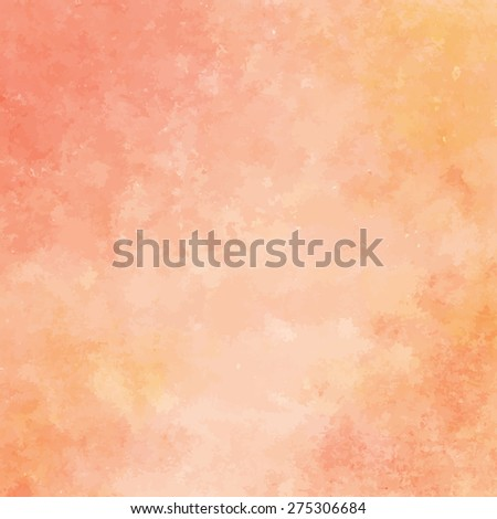 peach and orange watercolor texture background, hand painted vector illustration - stock vector