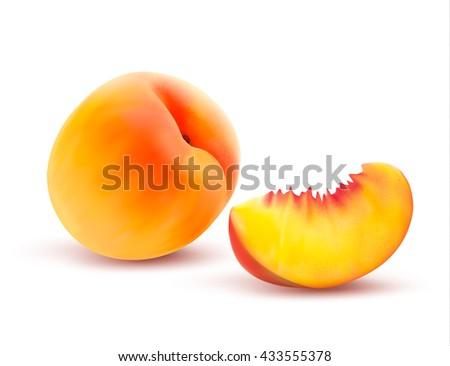 Peach And Slice. Vector illustration - stock vector