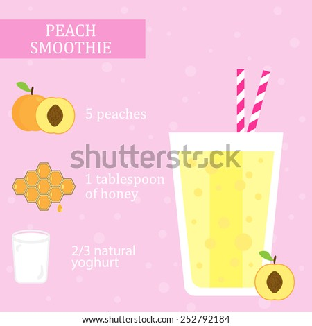Peach (apricot) and honey milkshake recipe with yogurt. Menu element for cafe or restaurant with energetic fresh drink made in flat style. For healthy life. Organic raw shake. Vector illustration - stock vector