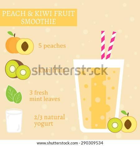 Peach (apricot) and kiwi fruit smoothie recipe. Menu element for cafe or restaurant with energetic fresh drink made in flat style. For healthy life. Organic raw shake. Vector illustration - stock vector
