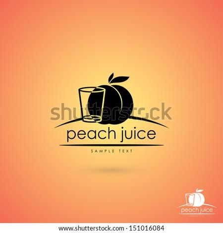 Peach juice sign - vector illustration - stock vector