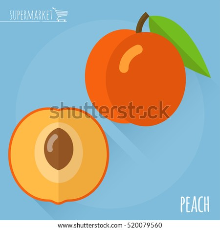 Peach.  Long shadow flat design vector icon.