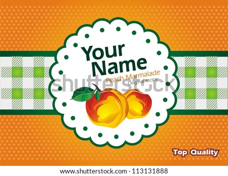 Peach marmalade jam label - stock vector