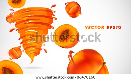 peach with juicy twister - stock vector